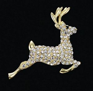 Diamond Studded Reindeer Pin Art - 1449SP