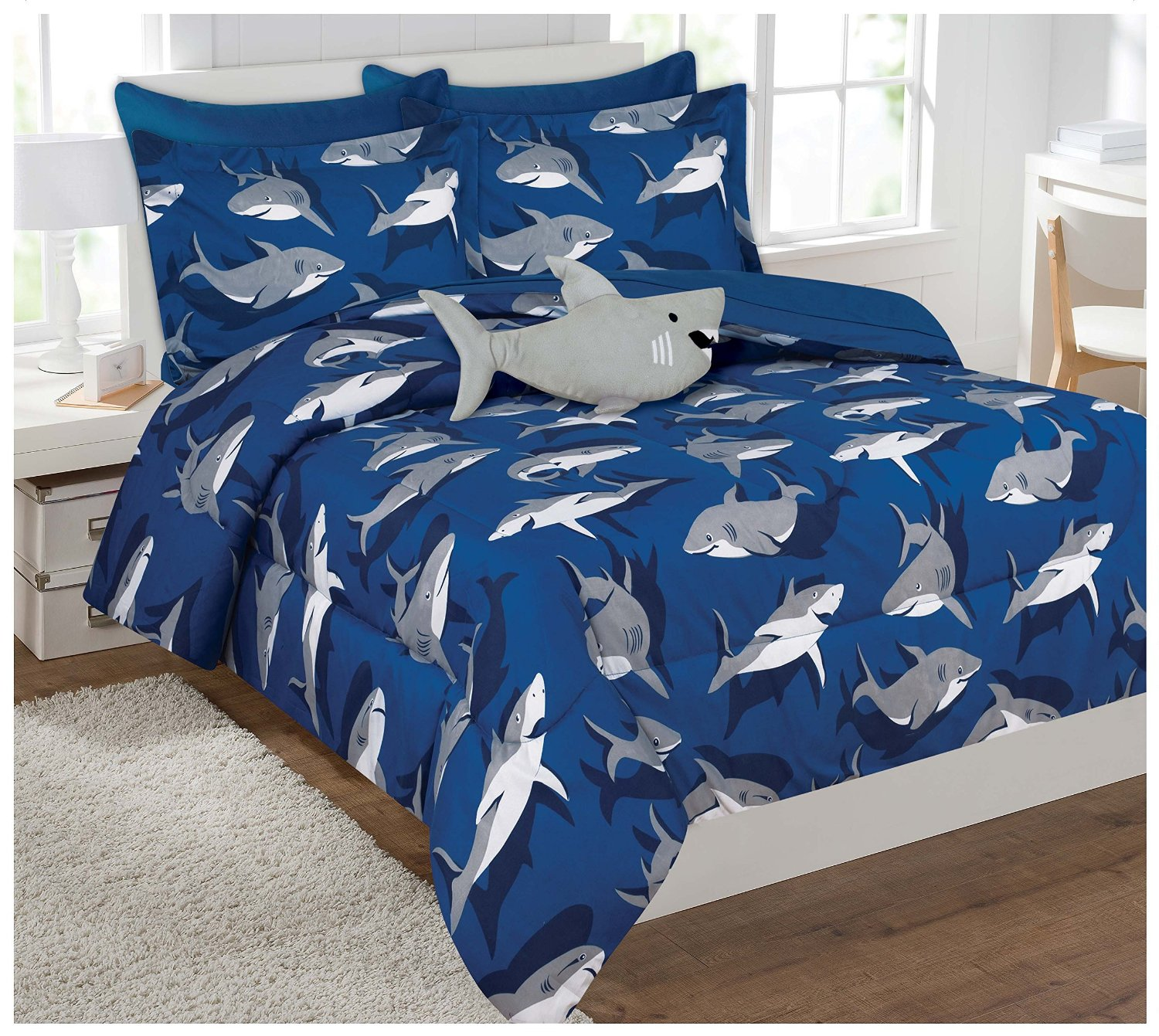 Fancy Collection 6 Pc Kids   teens Boys Shark Blue Grey Design Luxury Comforter Furry Buddy Included by