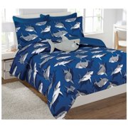 Fancy Collection 6 Pc Kids / teens Boys Shark Blue Grey Design Luxury Comforter Furry Buddy Included