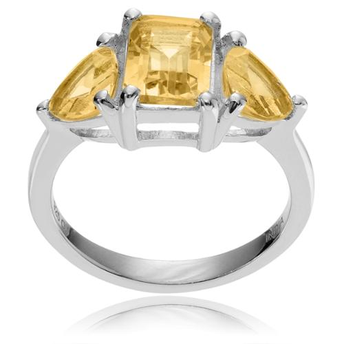 Journee Collection Sterling Silver Citrine 3-stone Ring Citrine- 7
