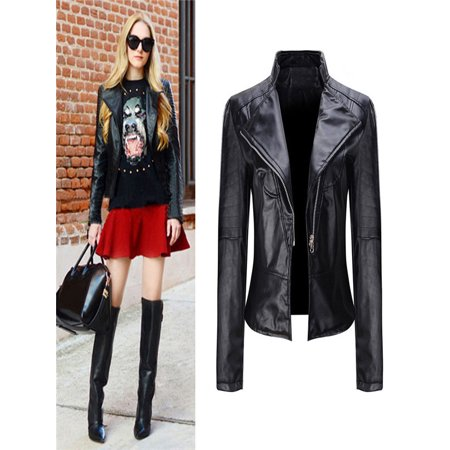 Winter Warm Women Short Coat Leather Jacket Parka Zipper Tops Overcoat Outwear