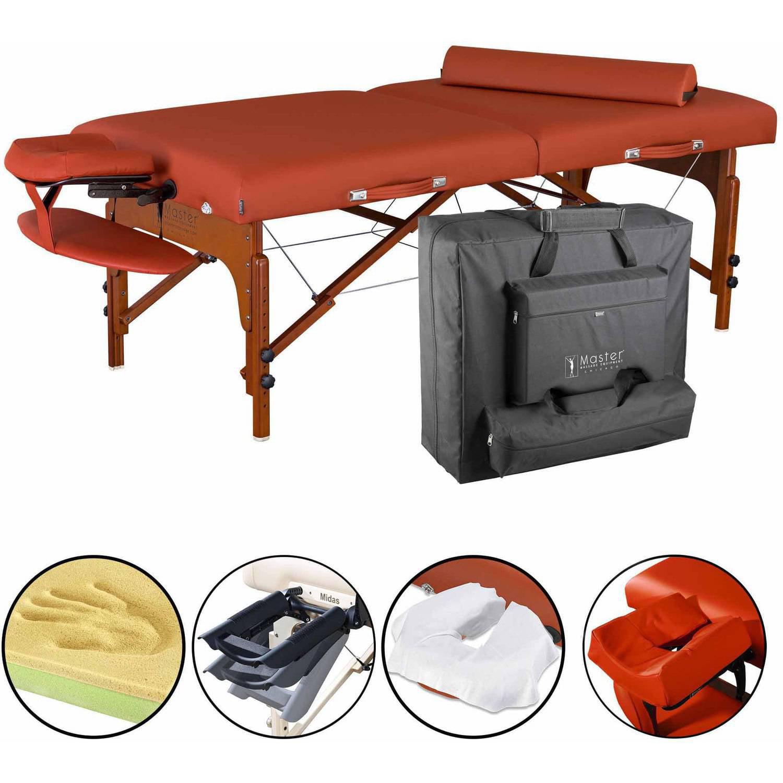 "Master Massage 31"" Santana LX Portable Massage Table Package, Memory Foam, Reiki Mountain Red"