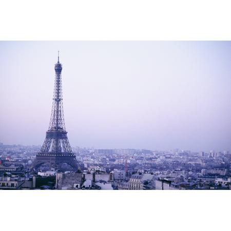 Dusk Eiffel Tower - Eiffel Tower At Dusk With Paris Skyline PosterPrint