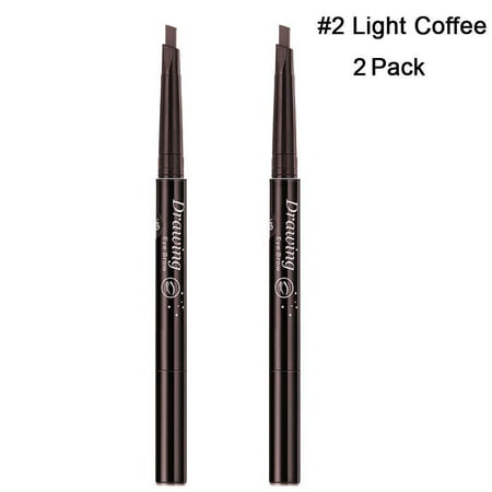Magik 2 Pack Waterproof Eyebrow Pencil Retractable Slant Tip & Brush Double-ends Natural Hair-like Look (#2 Light (Flower That Looks Like A Black Eyed Susan)