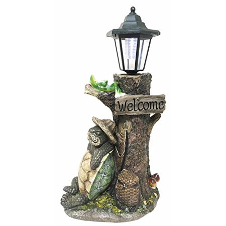 Summer Holidays Under Shady Tree Sleeping Hiker Turtle Tortoise With Best Friend Frog Statue With Solar Powered Lantern LED Light Patio Decor Indoor Outdoor