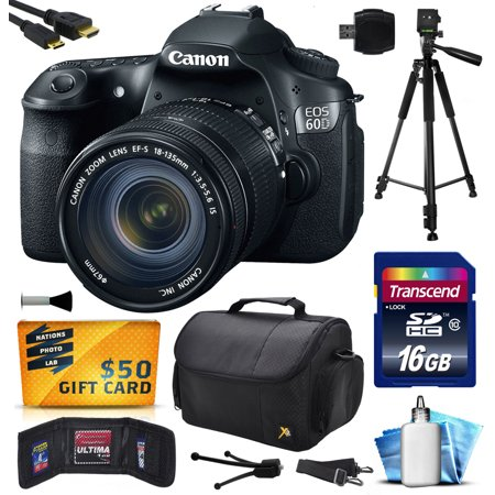 Canon Zoom Lens Tv - Canon EOS 60D 18 MP CMOS Digital SLR Camera with 18-135mm f/3.5-5.6 IS UD Lens includes 16GB Memory + Large Case + Tripod + Card Reader + HDMI Mini Cable + Cleaning Kit + $50 Gift Card 4460B004