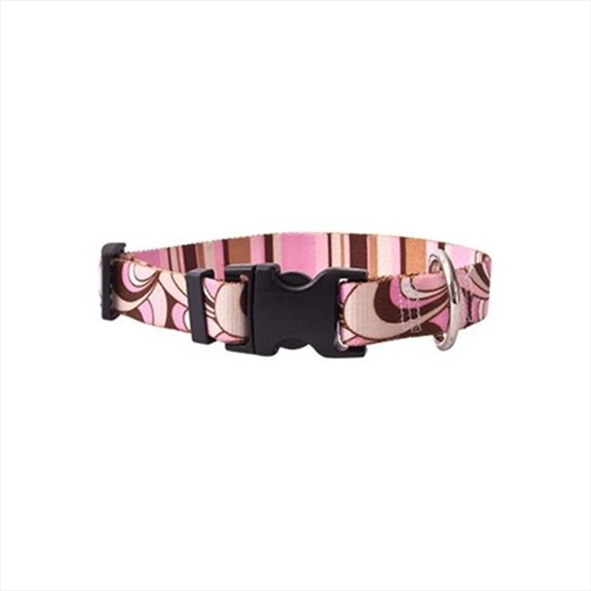 Yellow Dog Design PKBS100TC Pink and Brown Scallops with Stripes Standard Collar - Teacup