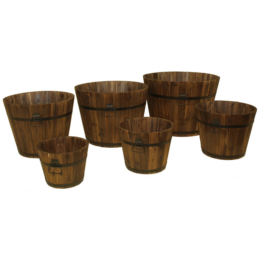 DeVault Enterprises DEVBP208 6 Piece Wooden Whiskey Barrel Planter Set by DeVault Enterprises