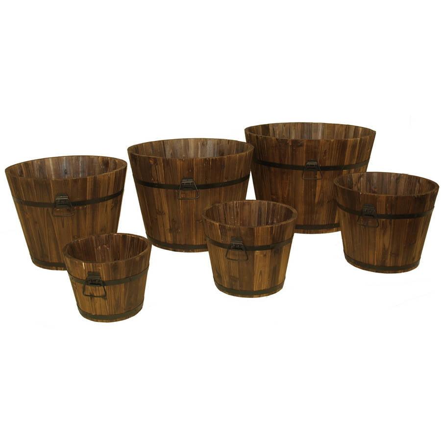 DeVault Enterprises DEVBP208 6 Piece Wooden Whiskey Barrel Planter Set