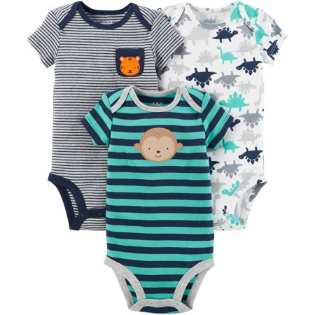 Child Of Mine By Carters Short Sleeve Bodysuits, 3pk (Baby Boys)