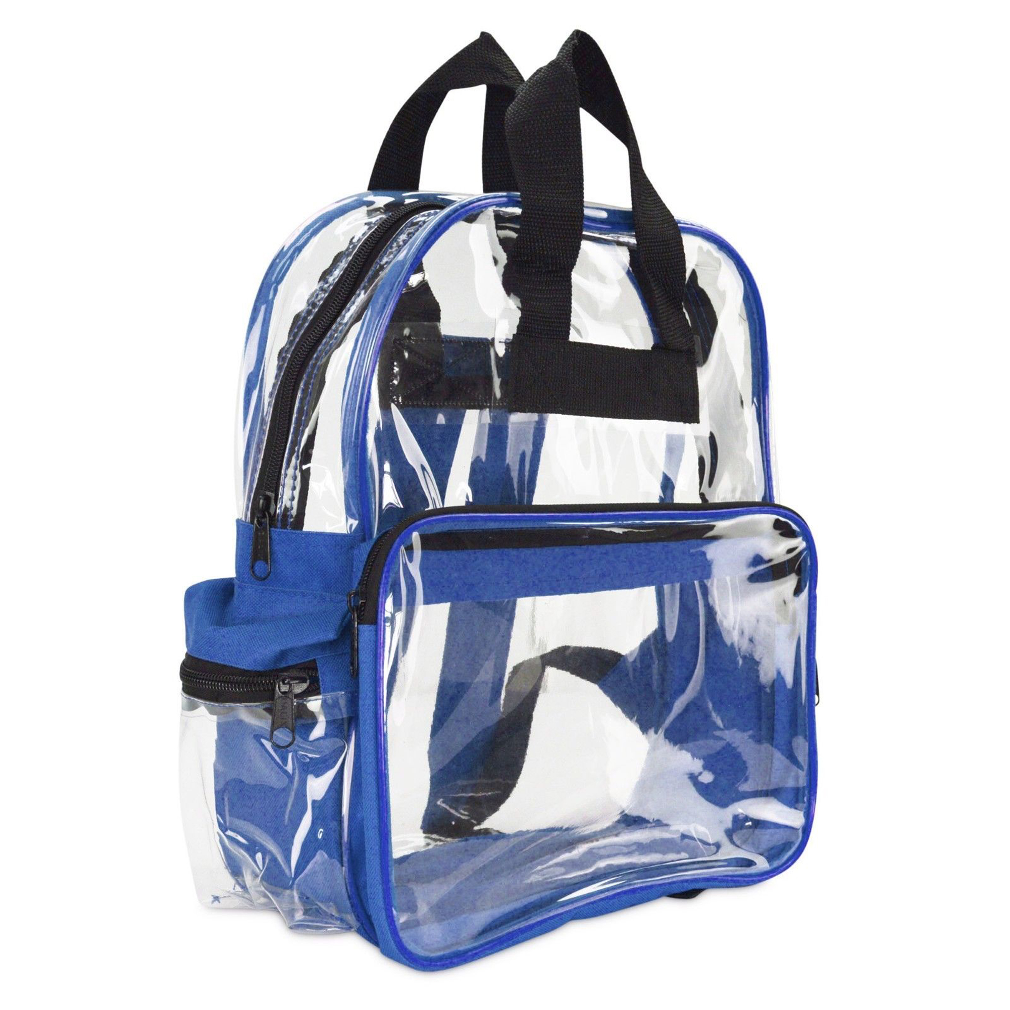 "Clear Backpack Camping Hiking Daypacks, NFL Sports Events Approved Backpack, Music Events Backpack, Custom Clear CBP Backpack Transparent Backpacks (Clear - 15"") Royal/Clear or Blue/Clear"