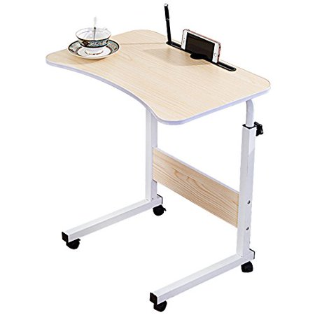 Adjustable Desk Body Curve Edge Design With Phone Slot Laptop Desk Movable Table Lapdesk With 4 Wheels Flexible Wooden Stand Desk Cart Tray Side Table for Bed - White Wood Tone ()