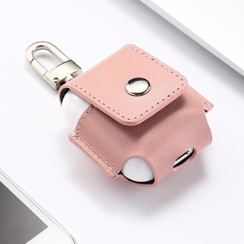 AMZER Leather Protective Case Anti-lost Storage Bag with Stainless Steel Hook - Pink For Apple AirPods