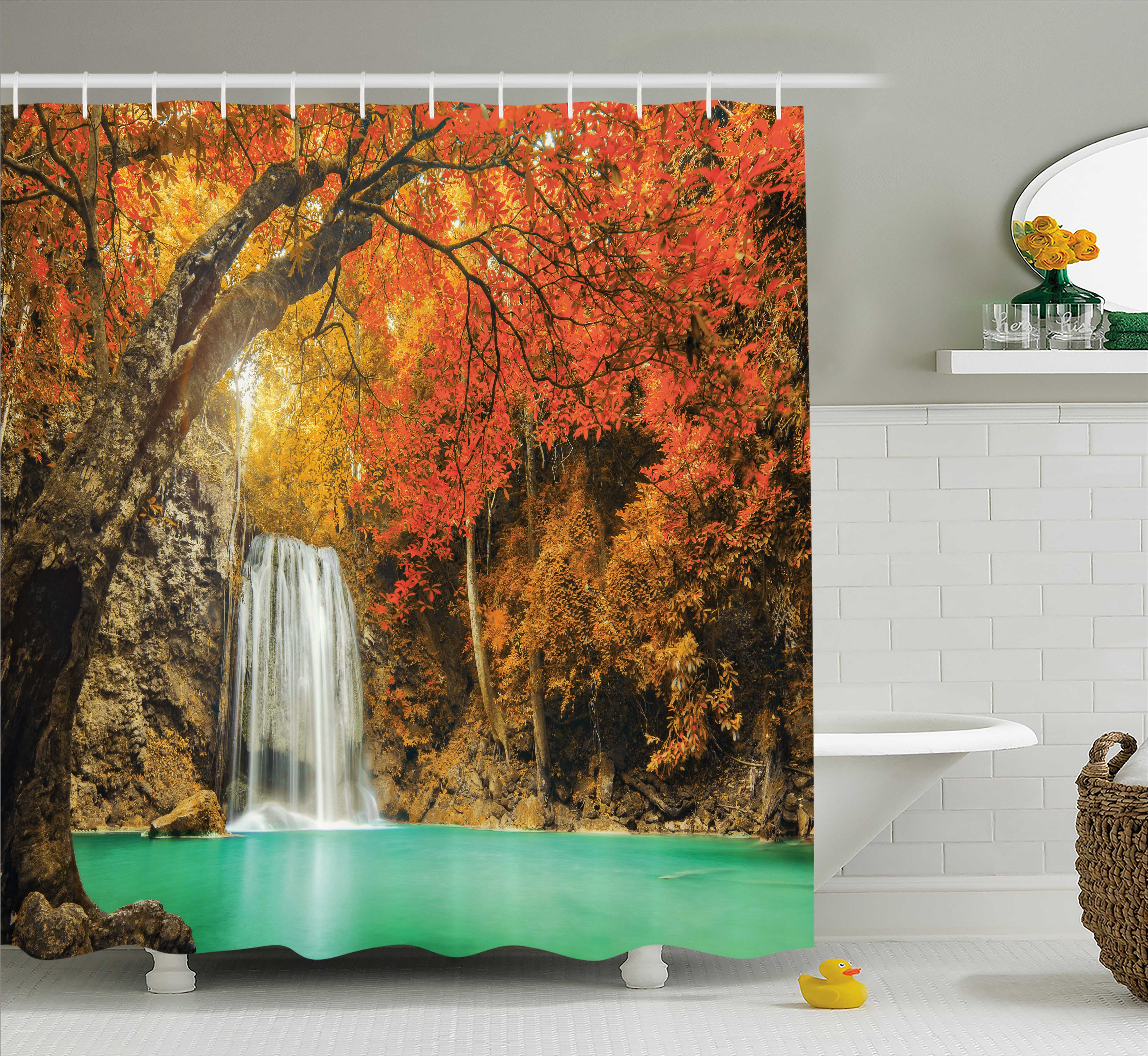 Farm House Decor Shower Curtain, Majestic Waterfall Cascade in Forest Flows down Crystal Pure Habitat View, Fabric Bathroom Set with Hooks, 69W X 84L Inches Extra Long, Orange Blue, by Ambesonne