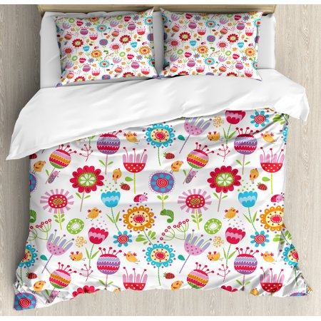 Kids Duvet Cover Set, Playful Garden Colorful Meadow with Blossoming Flowers Strawberries Birds Animals, Decorative Bedding Set with Pillow Shams, Multicolor, by (Strawberry Shortcake Bedding Set)
