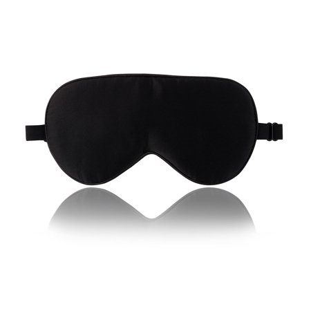 Adjustable Mask - True Natural Silk Sleeping Mask with Adjustable Strap Supersmooth Eye Mask Black