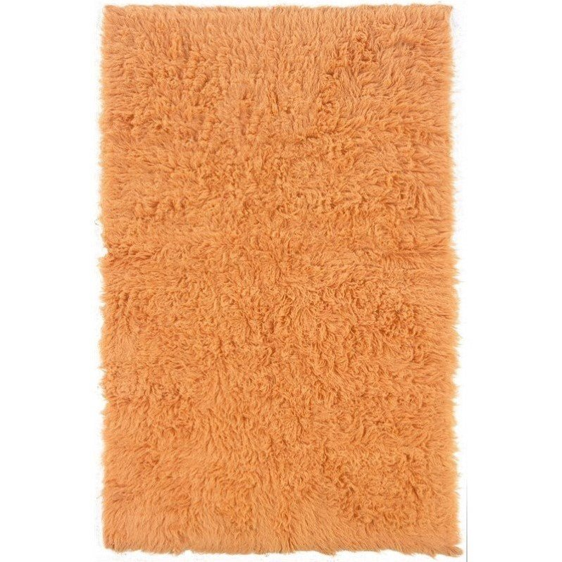 Linon New Flokati 8' x 10' Shag Rug in Pumpkin