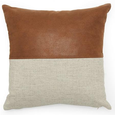 Mix Pillow - MoDRN Industrial Mixed Material Decorative Throw Pillow, 16