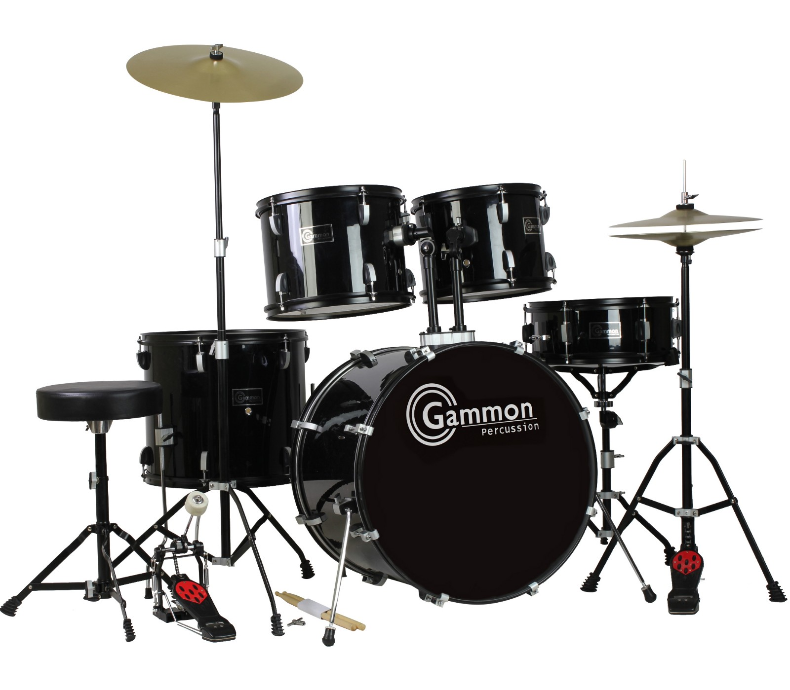 Gammon Drum Set Black Complete Full Size Adult Kit With Cymbals Sticks Hardware And Stool by