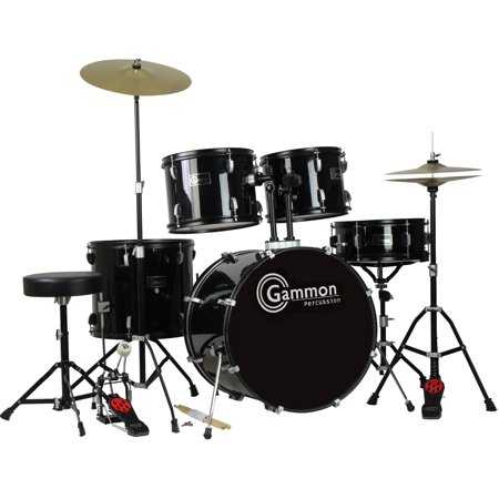 41963404 Black Drum - Gammon Drum Set Black Complete Full Size Adult Kit With Cymbals Sticks Hardware And Stool