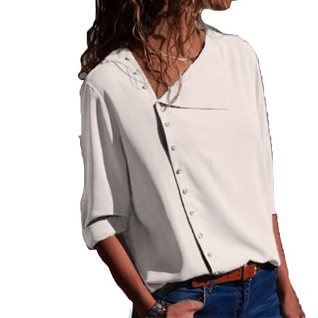 0168aada53abd Fresh look - Women s Rollable Sleeve Button Front Blouses - Walmart.com