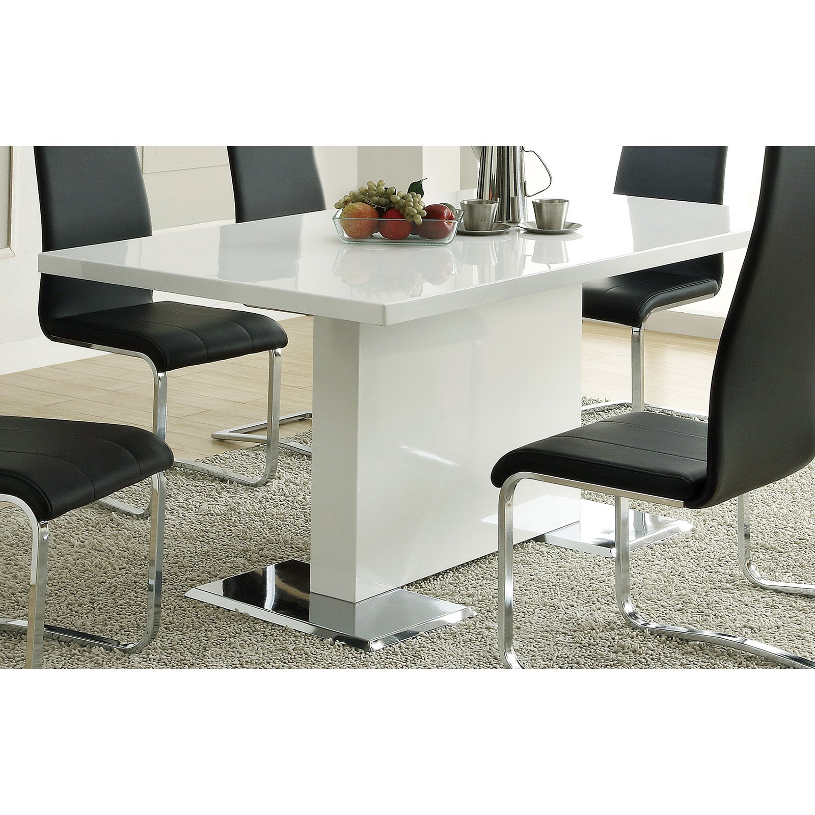 Coaster Furniture Modern White Pedestal Dining Table by