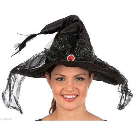 Witch Dance Costume (Adult Womens Witch Black Hat Animated Moving muscial Dancing Costume)