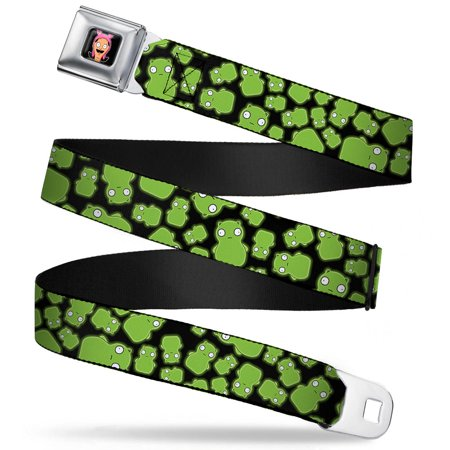 Louise Belcher Face Full Color Black Kuchi Kopi Scattered Black Greens Seatbelt Belt