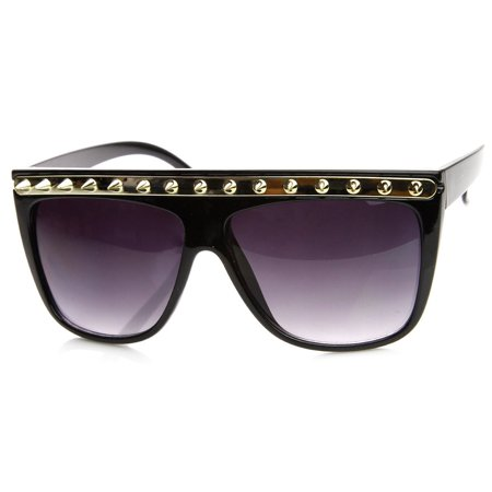 Spiked Fashion Metal Accent Flat Top Horned Rim Sunglasses - 8931