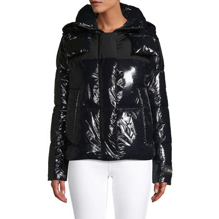 Shiny Faux Leather Puffer Coat