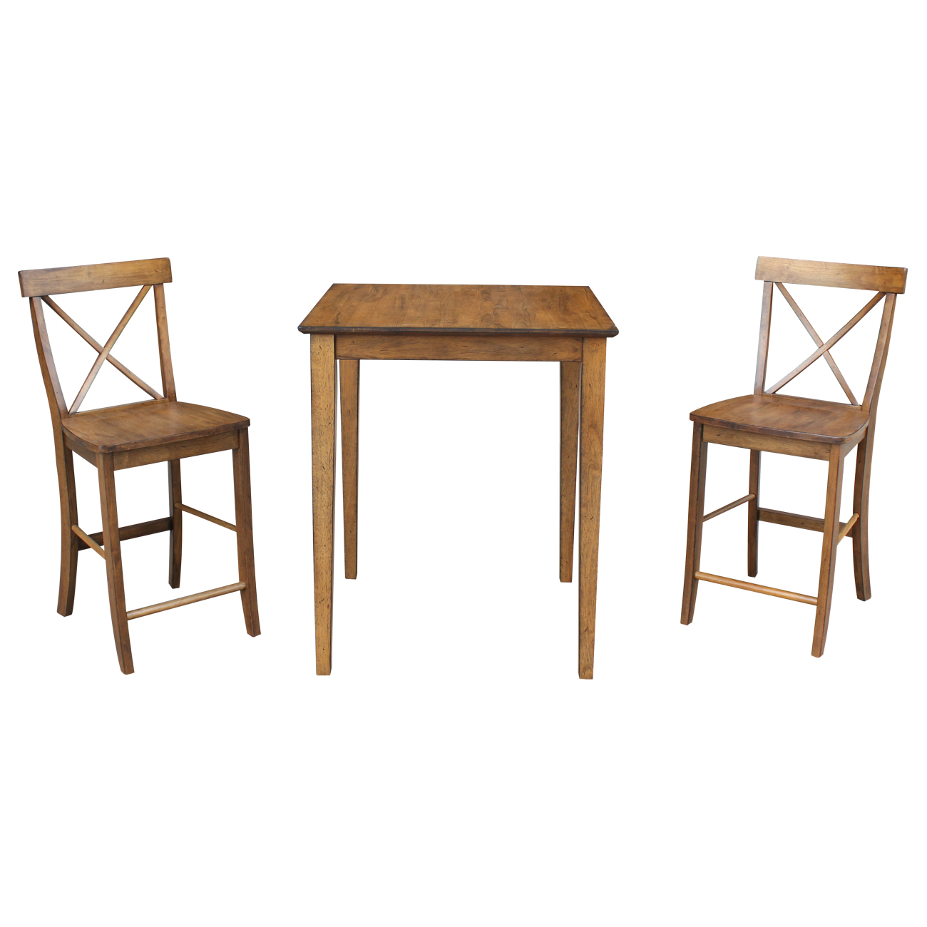 "30"" x 30"" Counter Height Table with 2 X-back Stools in Pecan - Set of 3"