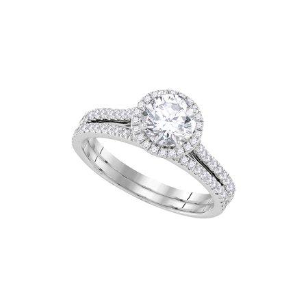 14kt White Gold Womens Round Diamond Halo Bridal Wedding Engagement Ring Band Set 1-1/5 Cttw - image 1 de 1