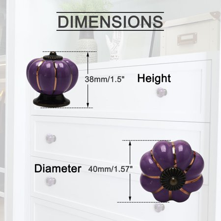 Ceramic Vintage Knob Pumpkin Pull Handle Cupboard Wardrobe Drawer Dresser Purple - image 5 de 8