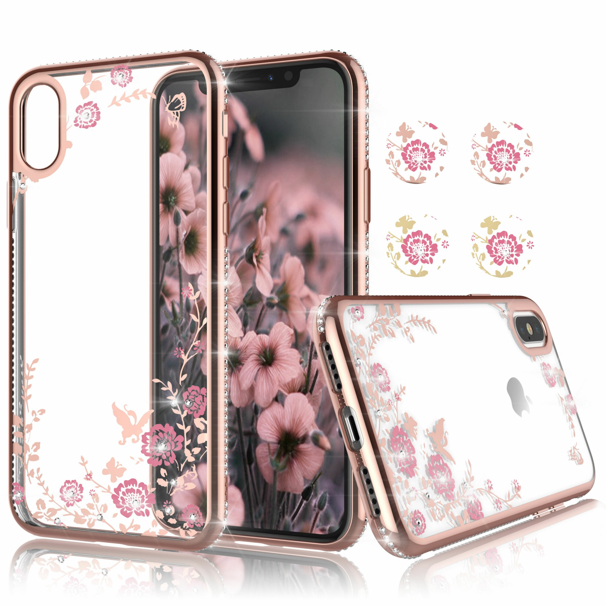 Njjex Phone Case Cover For iPhone Xs Max / iPhone XR / iPhone XS / iPhone X, Njjex Clear Flower Floral Design Shock Absorption Bling Glitter Sparkle Hard Slim Case TPU Bumper Protective Cover