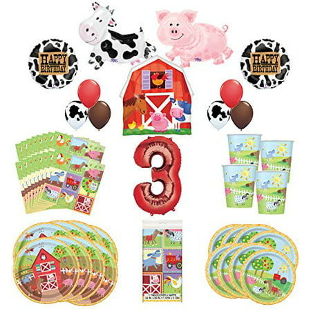 Farm Animal Party Supplies 8 Guests 3rd Birthday Balloon Bouquet Decorations - Farm Animal Birthday Supplies