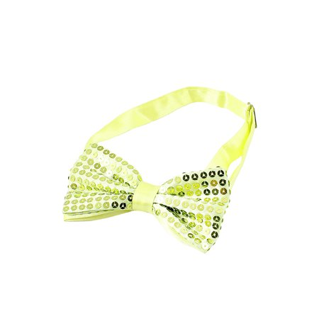 Unique Bargains Yellow Green Sequin Detailing Double Layers Bow Adjustable Bowtie for Man