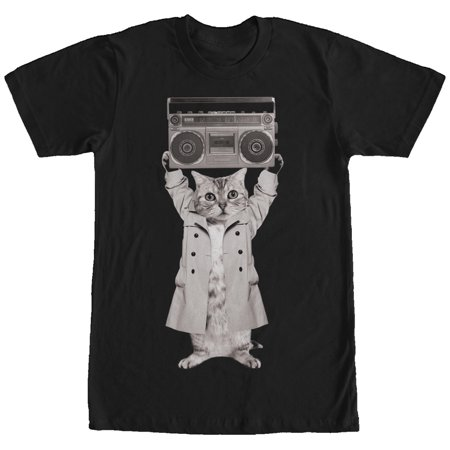 Men's Trench Coat Boombox Cat -