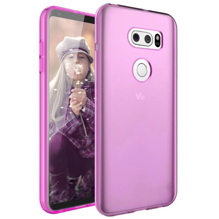 Pink Flexible Silicone - LG V30 TPU Case, [Hot Pink] Slim & Flexible Anti-shock Crystal Silicone Protective TPU Gel Skin Case