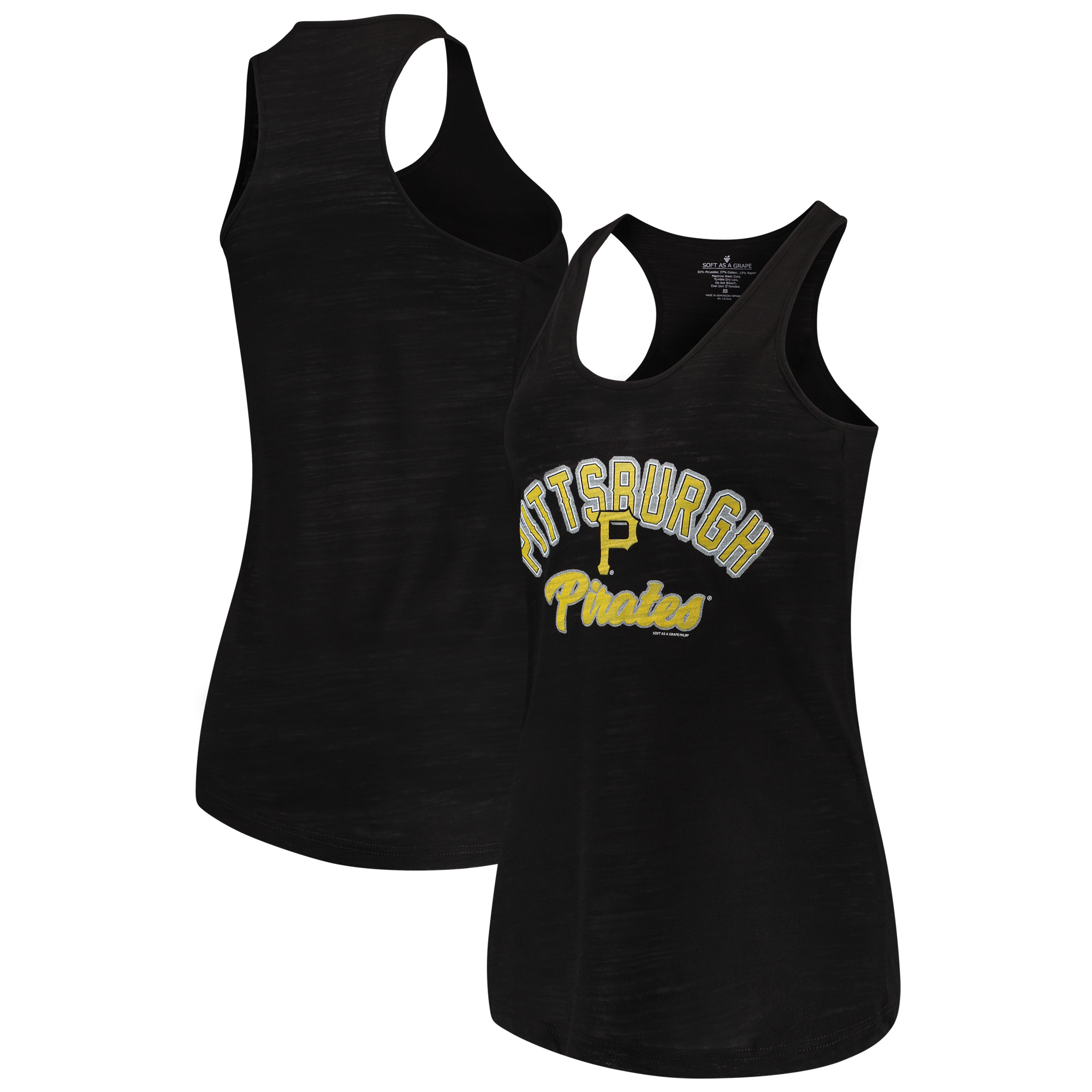 Pittsburgh Pirates Soft as a Grape Women's Multicount Racerback Tank Top - Black