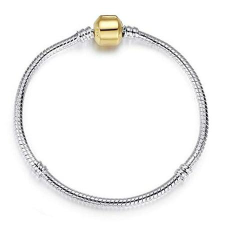 Gold Snake Bracelets - Maya's Grace Pandora Bead Clasp Sterling Silver Plated Snake Bone Bracelet (Gold)