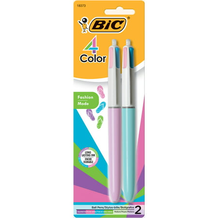 4 Color Ink Pens - BIC 4-Color Fashion Ball Pen, Medium Point (1.0 mm), Assorted Ink, 2-Count