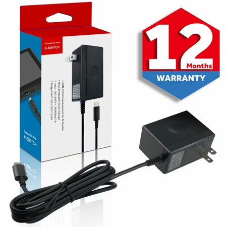 Switch Charger for Nintendo Switch,Switch AC Adapter Power Supply 15V 2.6A Wall Travel Charger with 5FT USB Type C Cable (Support TV Mode)