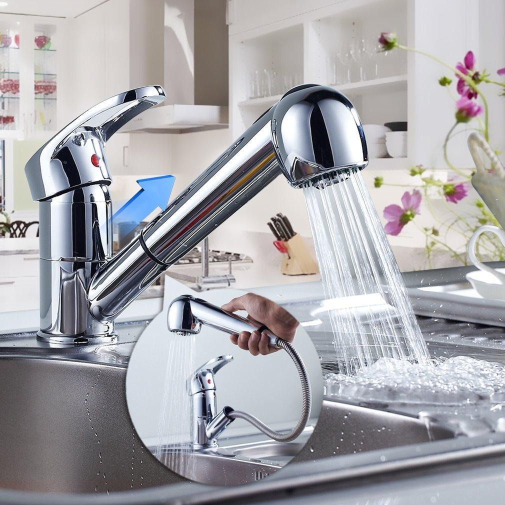 New Year Big Clearance Single Handle Kitchen Faucet Sink  Bathroom Copper Swivel Handle Lift Type Tap Faucet  BlETE