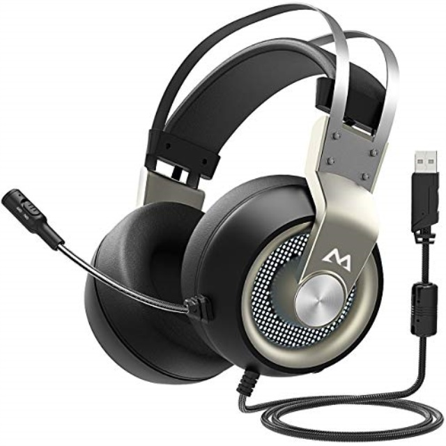 Mpow EG3 PS4 USB with Mic Series II PC Gaming Headset 7.1 Surround Sound Grad