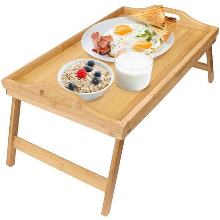Zimtown Wood Bed Tray Breakfast Laptop Desk Food Serving Hospital Table Folding Legs