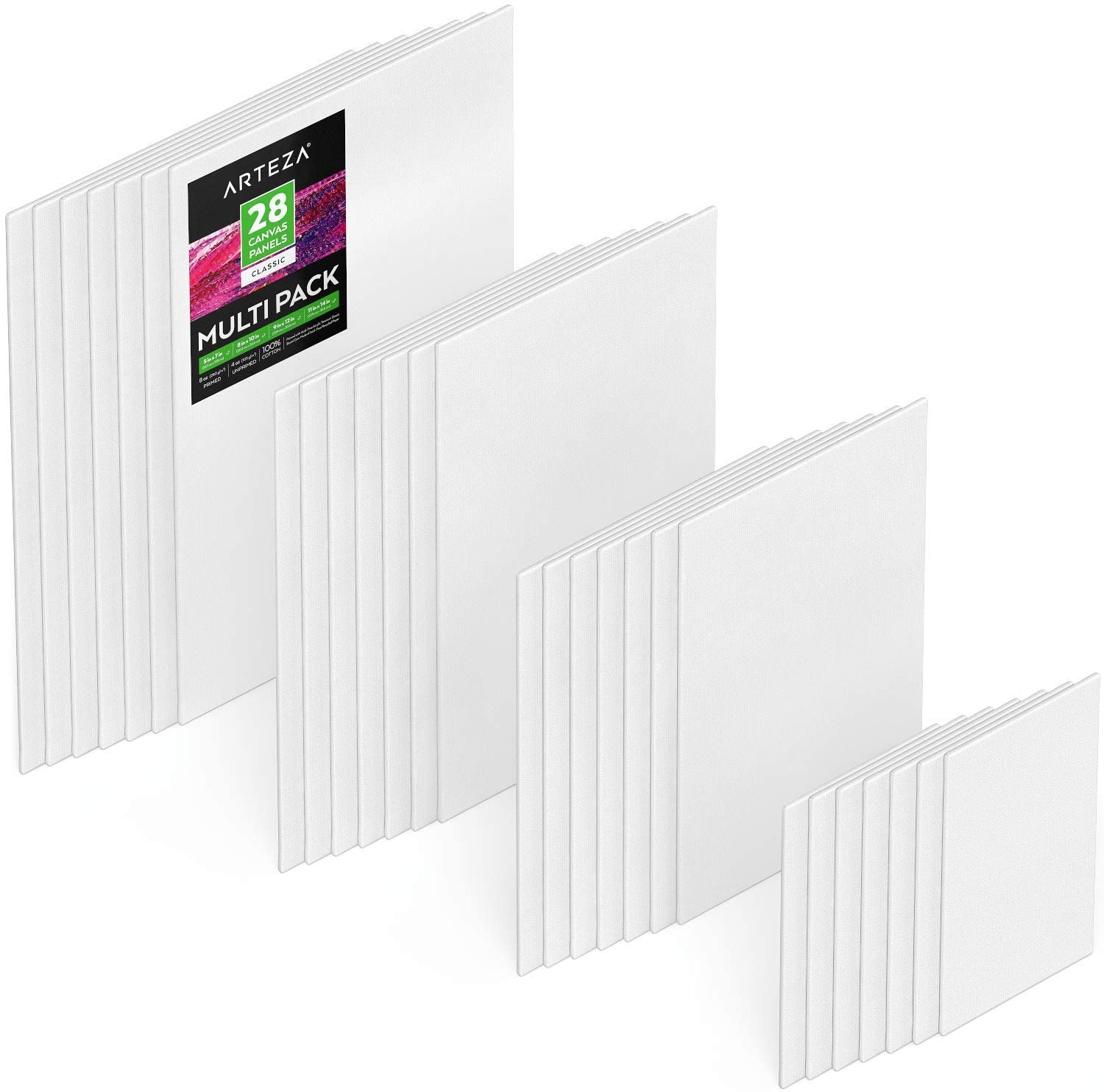 Arteza 9x12 inch Black Canvas Panels for Painting Primed 100/% Art Pack of 14