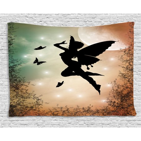 Apartment Decor Tapestry, Black Fairy with Angel Wings Butterflies and Sun like Alluring Round Light , Wall Hanging for Bedroom Living Room Dorm Decor, 80W X 60L Inches, Multicolor, by Ambesonne