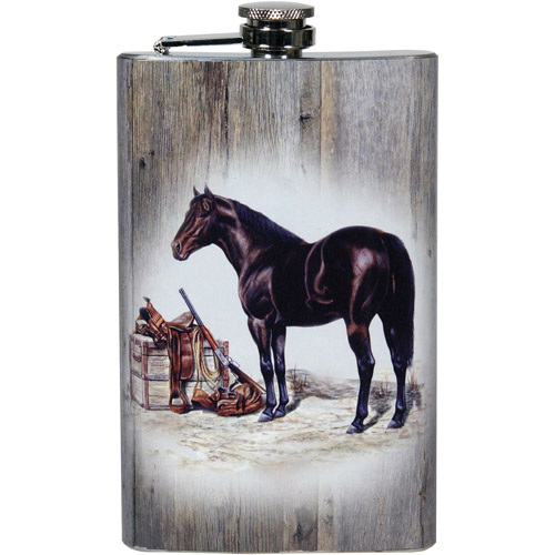Rivers Edge Products 9 oz Flask, Horse with Gun and Saddle Art