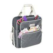 Everything Mary Deluxe Grey & White Scrapbook Carrying Storage Tote - Compatible with Standard IRIS Boxes  Portable Travel Craft Bag with Handle & Shoulder Strap for Pages