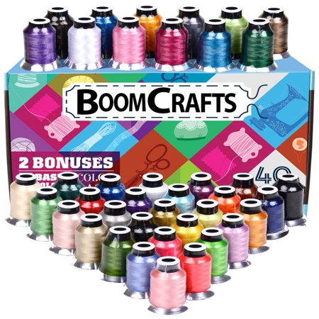 Machine Embroidery Thread Kit (Embroidery Thread - 40 Variety Polyester Spools, Beautiful Colors Perfectly Match Brother/Singer Machines, 550 Yard/ Spool, + 2 Free Bonus)